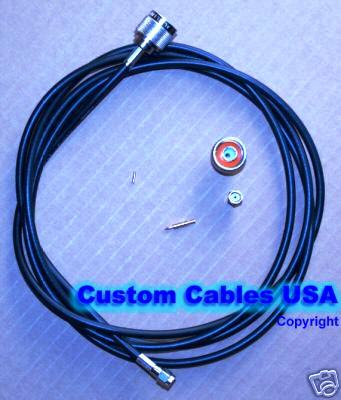USA-CA LMR195 N FEMALE BULKHEAD to MINI UHF MALE Coaxial RF Pigtail Cable